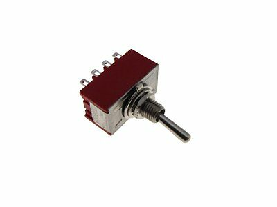 12-pin 4pdt Toggle Switch - Red - Panel Mount Type On-on