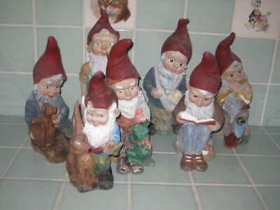 Lot 7 Old Vintage Heissner Plastic Gnomes W. Germany 462 986 987 988 990 913 917
