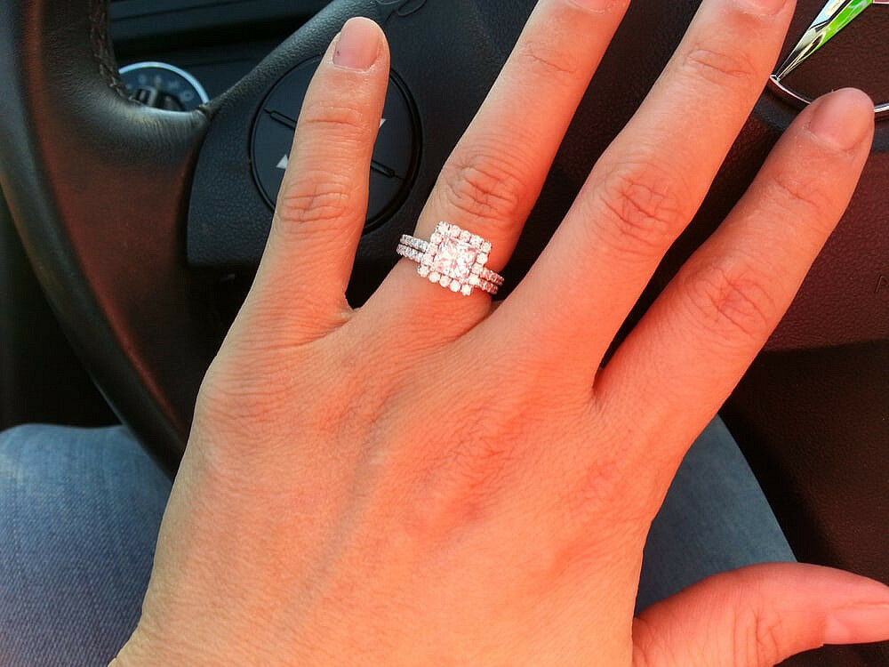1.60 ctw Natural Princess Cut Halo Pave Diamond Engagement Ring Bridal Set - GIA
