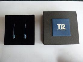 T12 Titanium drop earrings - new