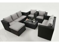 *FAST AND FREE DELIVERY* Outdoor Garden Black Rattan 8 Seater Sofa and Table Set - BRAND NEW