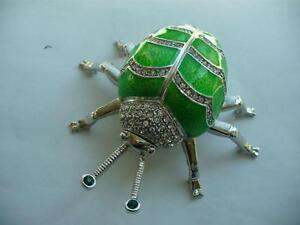 NEW GREEN SPARKLING LADYBUG JEWELERY BOX