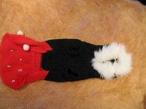 Dog Clothing - Red and Black Snowflake Dress with Hoodie Strathcona County Edmonton Area image 2