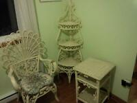 White bamboo weave antique table, chair and corner stand