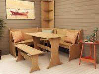 CORNER FURNITURE SET - WOODEN TABLE, BENCH SEATING & SHELVES