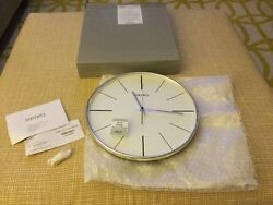 SEIKO SILVER TONE 11.5 ROUND  WALL CLOCK WITH QUIET SWEEP QXA634ALH