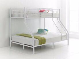 67% Off: NEw trio sleeper bunk bed in 3 colour black white or silver colors single top double bottom