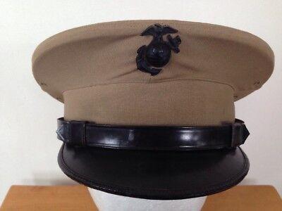 Vintage WWII US Marine Corps USMC Summer Dress Hat Khaki Black Pin Wool 7 1/8