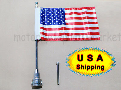 Chrome Custom Motorcycle Rear Side Mount Flag Pole Usa Flag For Harley Luggage