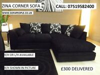 BRAND NEW zina corner sofa, all sofas guaranteed, free pouffe