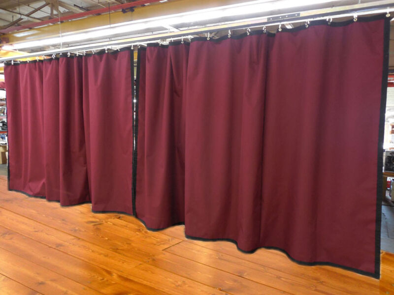 Lot of (2) Burgundy Curtain/Stage Backdrop, Non-FR, 9 H x 20 W