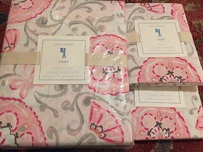 Pottery Barn Kids Casey Duvet Cover Standard Shams Pink Grey Floral Full Queen