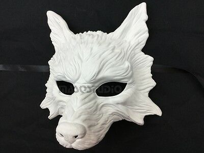 White WOLF Masquerade Mask Halloween haunted house Costume Burning Man Party (White Wolf Costume)