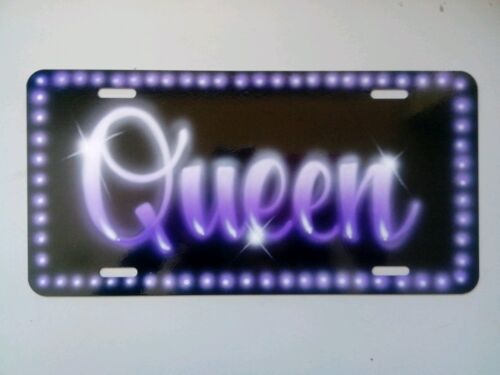 Airbrush Custom License Plate Car Tag Personalized w/ Your Name Purple