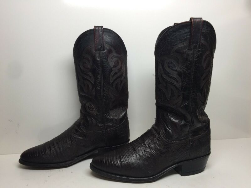VTG, MENS, DAN, POST, COWBOY, LIZARD, SKIN, LEATHER, BURGUNDY, SIZE, 9.5, EW