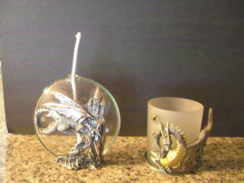 2 Dragon Pewter Oil Lamp and Two-Toned Dragon Candle Holder ID:67798