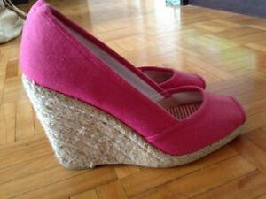 Pink Wedge Sandals - Size 7