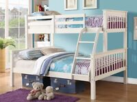 White Triple Bunk Beds with Mattresses
