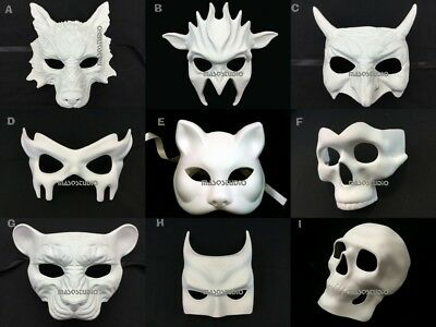 Blank Unpaint White DIY Masquerade Halloween Party Character Animal Mask - Masquerade Masks White