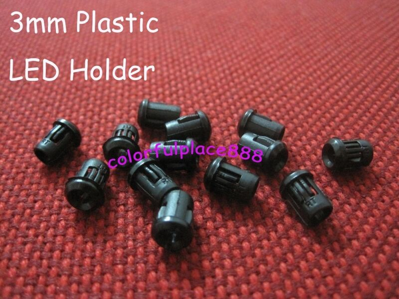 100pcs, 3mm Black Plastic LED Holder Holders Clips Bezels Mounts Free Shipping