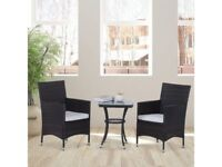 **FREE & FAST UK DELIVERY** Rattan Garden Furniture Set with 2 Chairs and Table - BRAND NEW