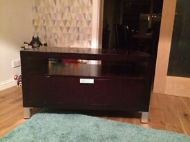 Espresso TV stand with drawer