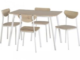 *FAST & FREE UK DELIVERY* Seconique Light Oak & White Metal 5 Piece Dining Set with 4 Chairs