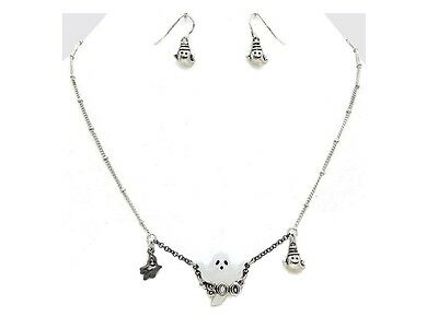 Halloween Ghost Boo Pendant Necklace & Earring Set ~ Gift - Halloween Set Ideas