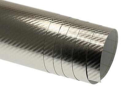 3D Carbon Folie Silber Chrom 100cm x 152cm Blasenfrei mit Luftkanäle