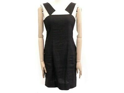 Robe a bretelles chanel taille 40 m en coton & lin noir cotton dress 3500€