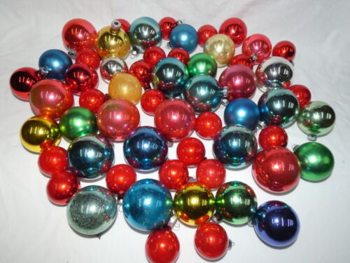 Vintage Christmas Mercury Glass Ball Ornament Lot Various Sizes and Colors