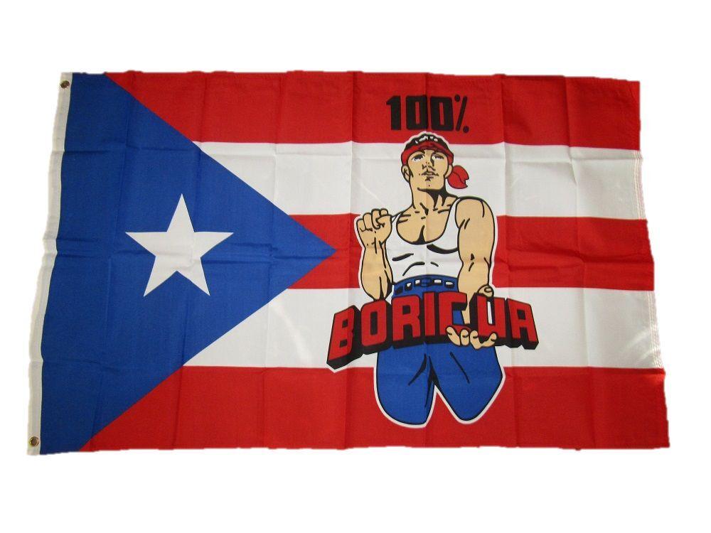3x5 Puerto Rico 100% Boricua Flag 3'x5' Banner Brass Grommet