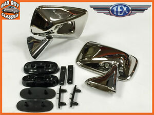 Ford-Escort-Mk1-Mk2-Stainless-Steel-Door-Mirror-PAIR
