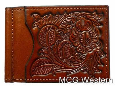 Nocona Brown Tooled Leather Bill Fold Mens Money Clip N5438808 Only for