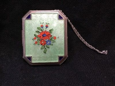 Antique Enamel   Silver Compact Floral Vanity Powder Mirror And Chain Purse