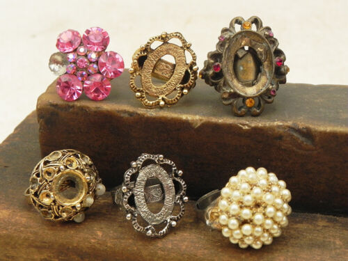 Lot Vintage Rings & Blanks Jewelry Parts Repurpose Assemblage Steampunk Craft