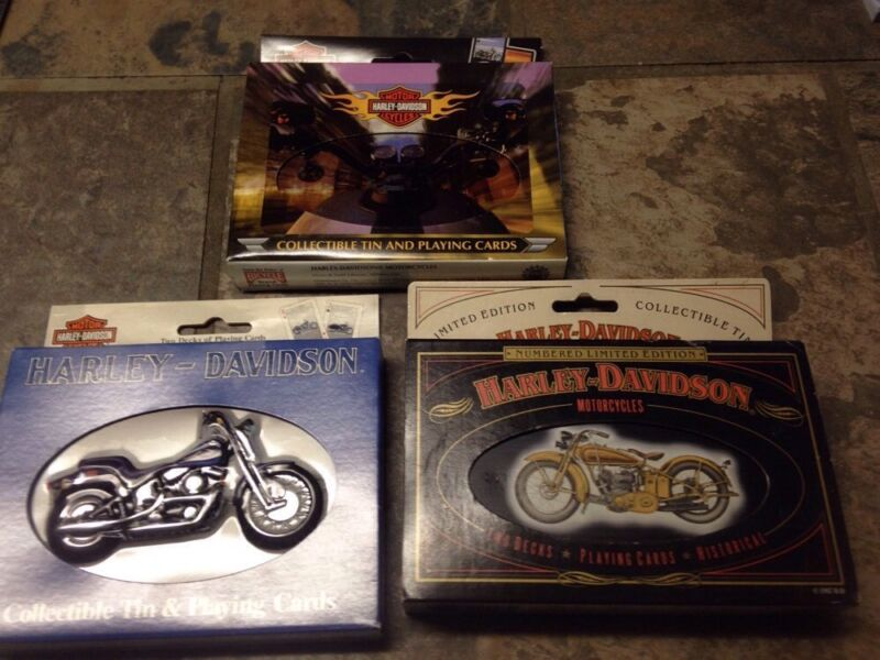 SET OF 3 HARLEY DAVIDSON COLLECTIBLE PLAYING CARDS WITH TINS