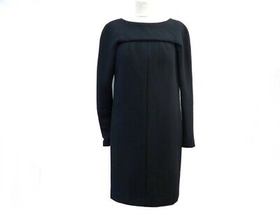 Robe mi longue du soir chanel p42252 40 m en laine noire black wool dress 2200€