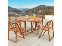 **FREE & FAST UK DELIVERY** Outdoor 5-Piece Folding Wooden Bistro Garden Dining Table Set