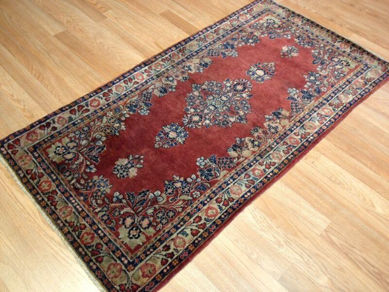Superb Sarouk - 1920s Antique Persian Rug - Oriental Floral Carpet 2.5 X 4.8 Ft.