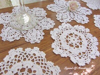 LOT~12Pcs~Hand Crochet Lace Doily/Cup Coaster~White~Snowflake&Star~Wedding/DIY~