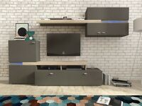 SUPER SALE DELIVERY 1-3 DAYS YET Wall Unit in 2 Colors Sanremo Oak and GRAY BRAND NEW
