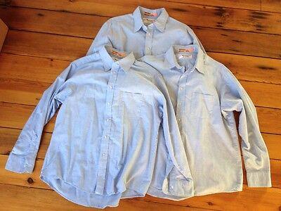 Lot Of 3 Blue Work Shirt Wear Guard Aramark Cotton Poly Blend 17 34 49  Chest