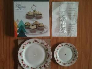2 Tier Christmas Holly Cake Stand - Unused Bexley Rockdale Area Preview