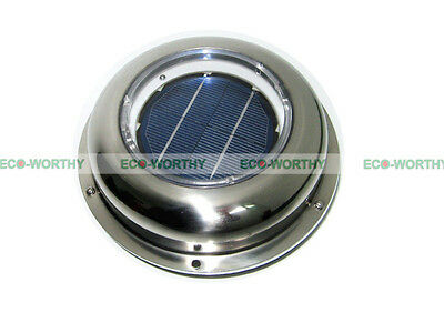 Solar Powered Vent Fan Exhaust Ventilation Stainless Steel for Boat,Roof,Attic