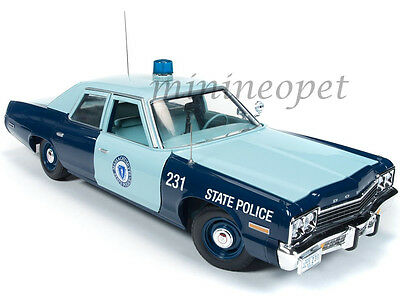 AUTOWORLD AMM1023 1974 74 DODGE MONACO PURSUIT MASSACHUSETTS STATE POLICE 1/18