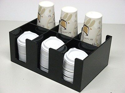 Cup Lid Dispensers Holder Coffee Condiment Caddy Cup Rack Sugar Office Organizer