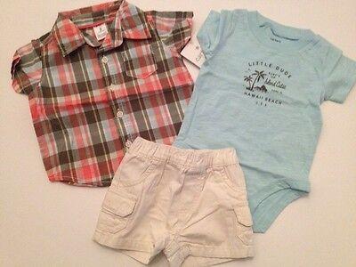 Carters Baby Boy Plaid Shirt  Shorts Bodysuit  Outfit Set Size 3 Months Hawaiian