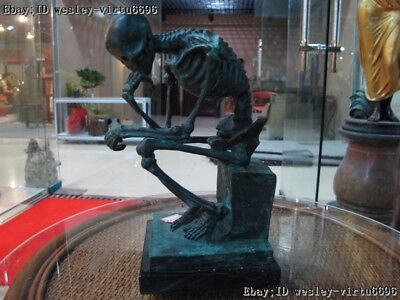 10 Wester Art Decor  Bronze Marble Base Figurine Skull Thinker Statue - Wester Decor