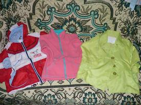 Bundle of 5 jackets, light coats, fleece & rain coat for 2-3 years old girl. Autumn/ Winter/ Spring.